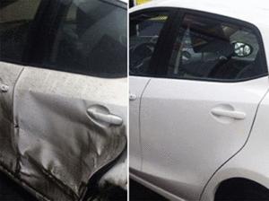 Фото до и после ремонта двери авто