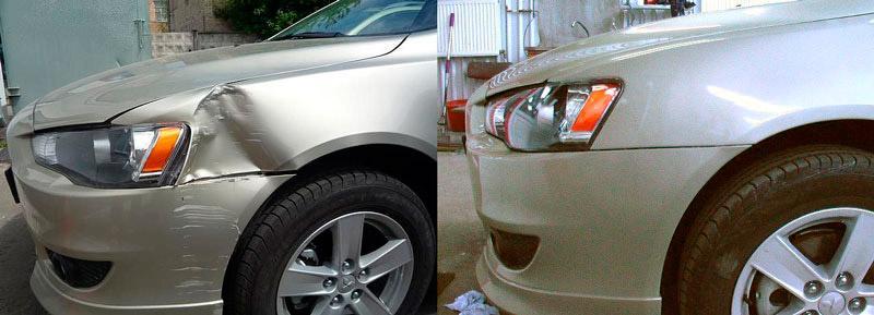 Фото до и после ремонта крыла авто в Ульяновске